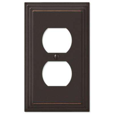 Tiered 1 Duplex Outlet Plate - Aged Bronze Cast