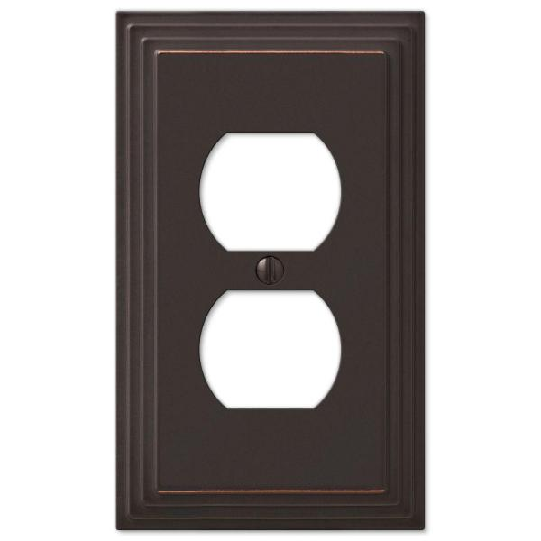 Tiered 1 Gang Duplex Metal Wall Plate - Aged Bronze