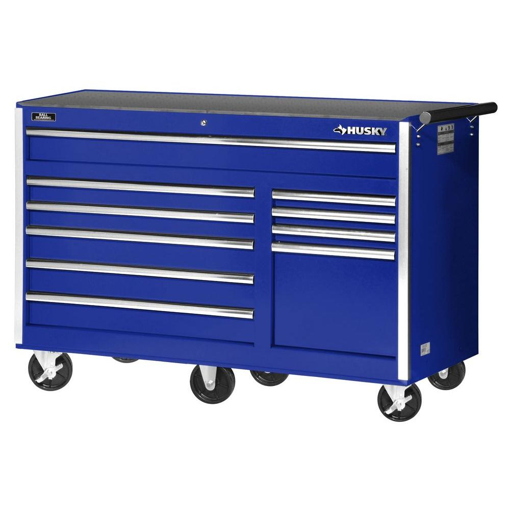 Husky 56 in. 10-Drawer Cabinet Tool Chest, Blue-VRB-5610BUHU - The ...