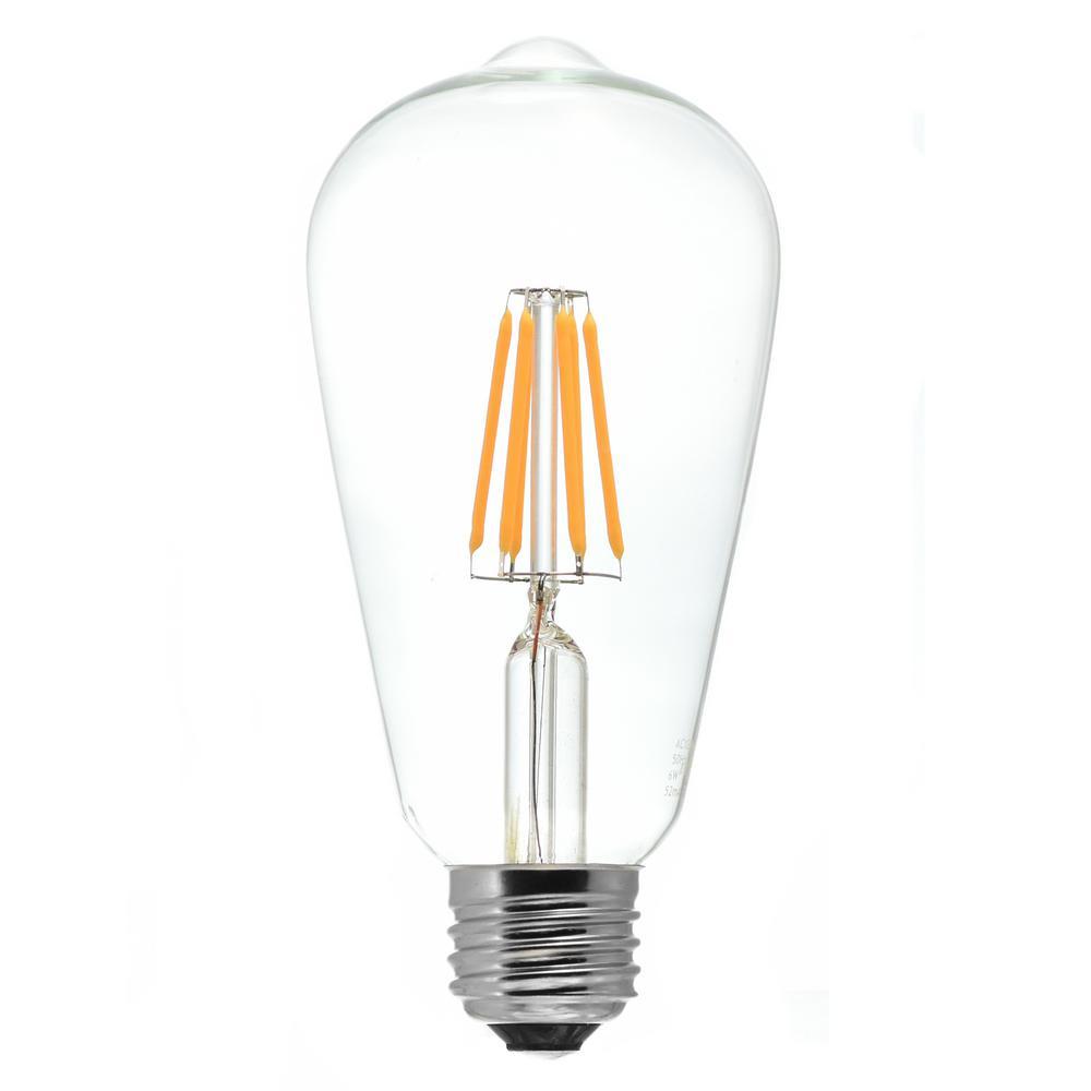 50-Watt Equivalent Medium Base (E26) (2700K) Dimmable Clear LED S20 Light Bulb Warm White