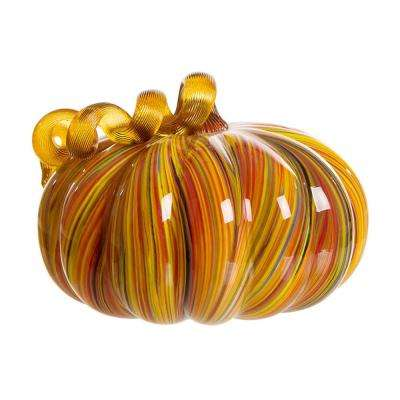 6.5 in. Multi Striped Glass Large Pumpkin