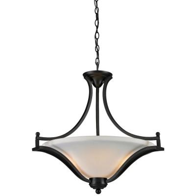 Lawrence 3-Light Matte Black Incandescent Ceiling Pendant