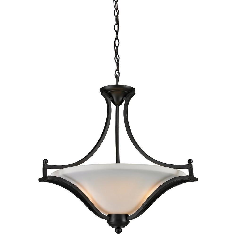 Lawrence 3-Light Matte Black Incandescent Ceiling Pendant