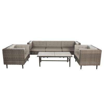 Aimee 6-Piece Wicker Patio Deep Seating Set with Cast-Ash Cushions