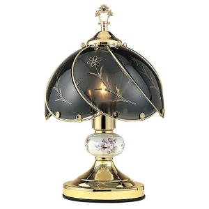 ORE International 14.25 inch Floral Brushed Gold Touch Lamp by ORE International