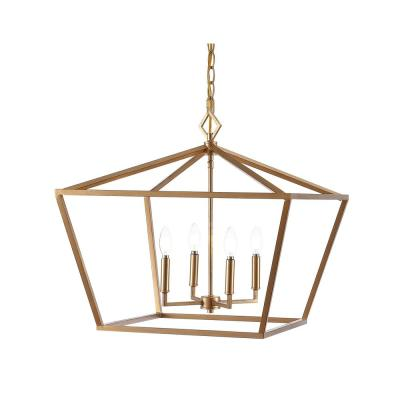 Gatsby 23 in. 4-Light Gold Adjustable Iron Rustic Glam LED Pendant