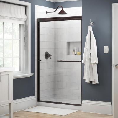 Simplicity 48 in. x 70 in. Semi-Frameless Traditional Sliding Shower Door in Bronze with Clear Glass