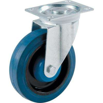 4 in. Blue Elastic Rubber Swivel Plate Caster with 265 lb. Load Rating