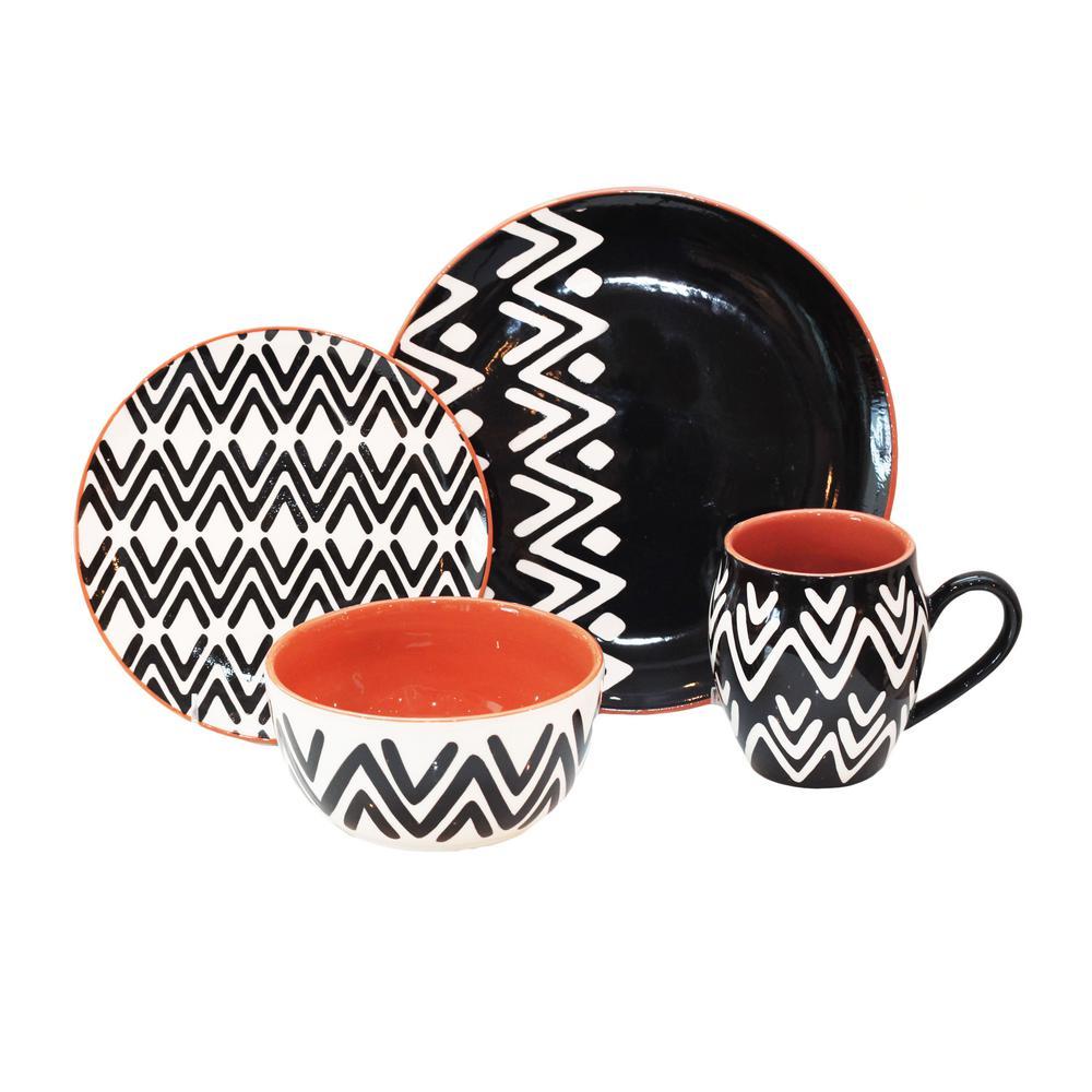 Wavy Lines 16-Piece Black Dinnerware Set