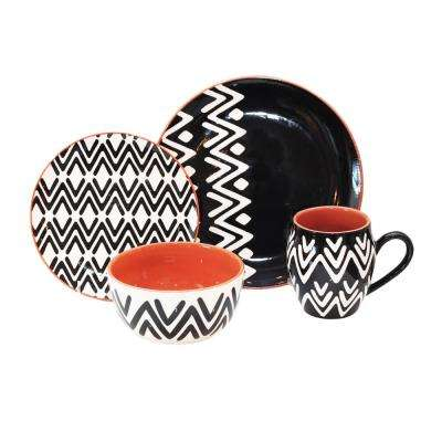 Wavy Lines 16-Piece Black Dinnerware Set