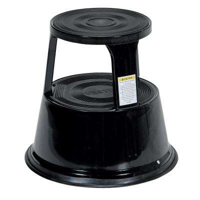 17 in. Black Rolling Step Stool