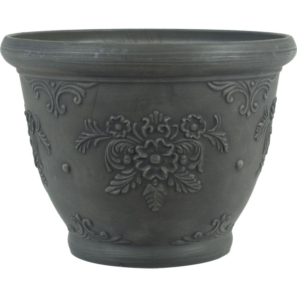 16 in. Dia Floral Charcoal Gray Plastic Planter