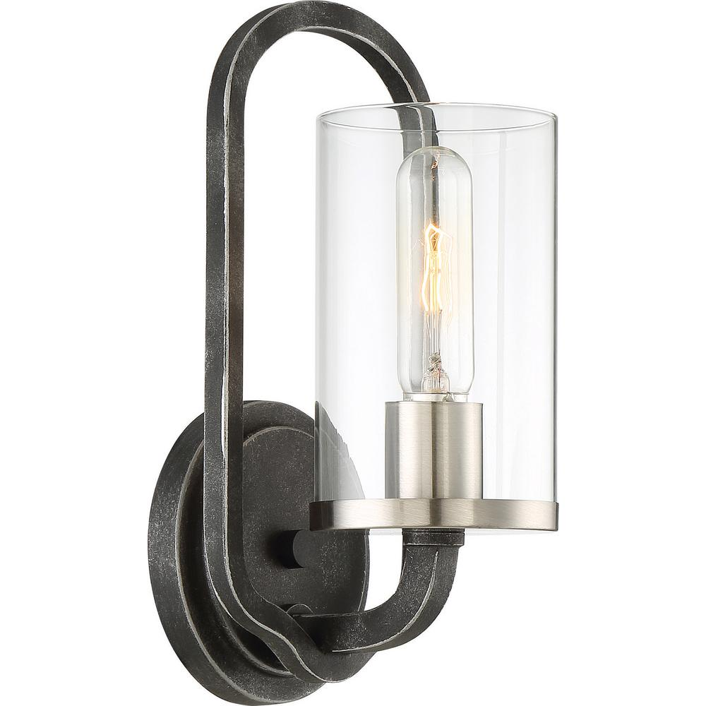 Filament Design 1-Light Iron Black Wall Sconce  sc 1 st  Home Depot & Filament Design 1-Light Iron Black Wall Sconce-HD-606121 - The Home ...