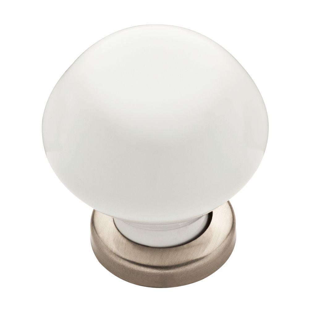 Modern Elegant 1-3/16 in. (30mm) Satin Nickel and White Ceramic Round Cabinet Knob