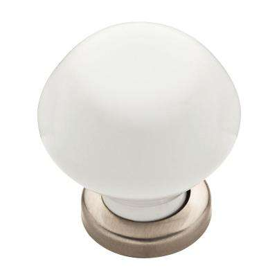 Modern Elegant 1-3/16 in. (30mm) Satin Nickel Ceramic Round Cabinet Knob