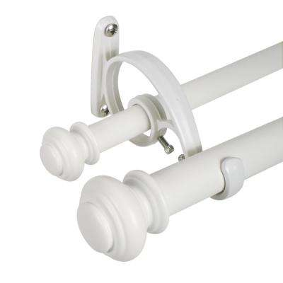 Urn 36 in. to 72 in. Telescoping Double Curtain Rod Set in Bright White