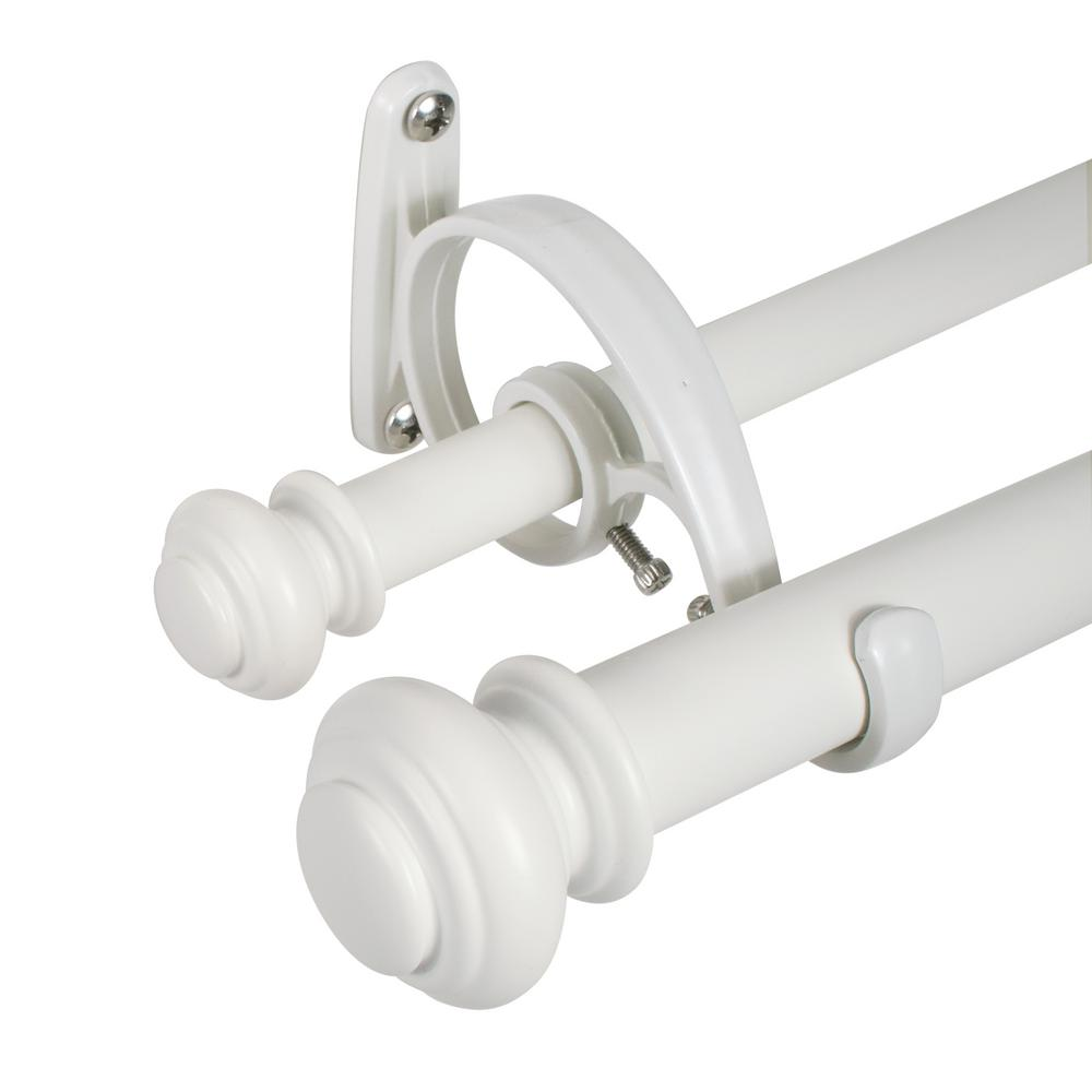 Decopolitan Urn 72 in. to 144 in. Telescoping Double Curtain Rod Set in Bright White
