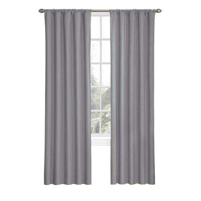 Kids Microfiber Blackout Window Curtain Panel in Grey - 42 in. W x 63 in. L