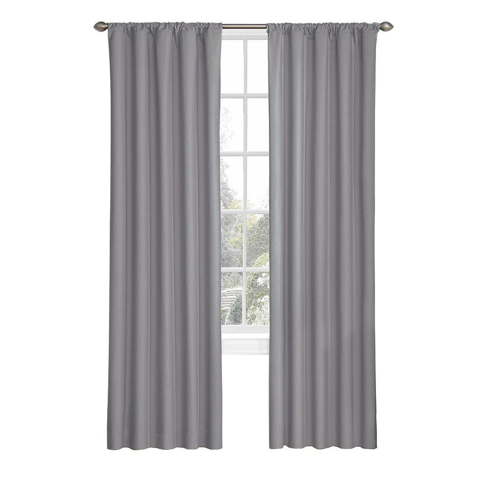 Kids Microfiber Blackout Window Curtain Panel in Grey - 42 in. W x 84 in. L
