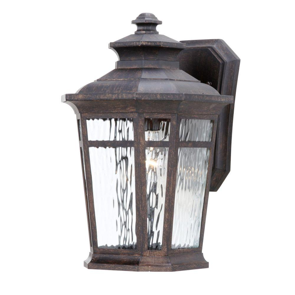 Hampton Bay Waterton 1-Light Dark Ridge Bronze Outdoor Wall-Mount Lantern
