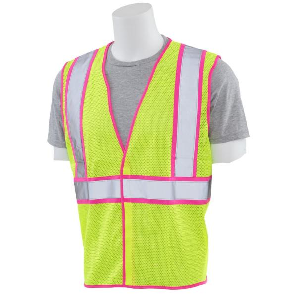 S730 5XL Class 2 Unisex Vest in Hi-Viz Lime Mesh with Pink Trim