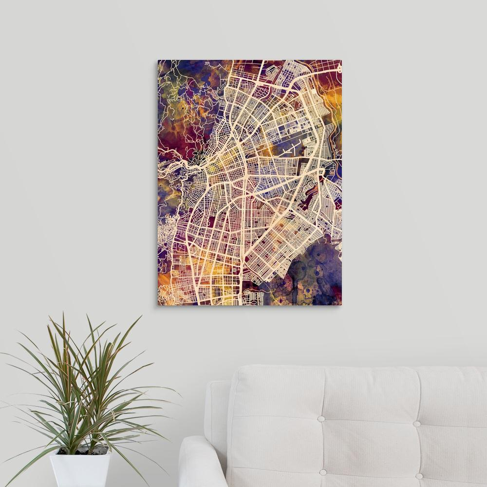 Greatbigcanvas cali colombia city map by michael tompsett canvas publicscrutiny Image collections