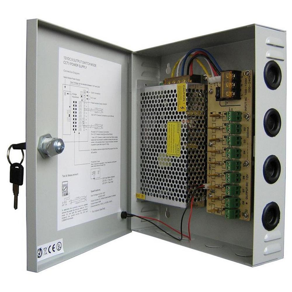 CCTV Power Box 9-Port DC12V 15 Amp Supply Box, Gray