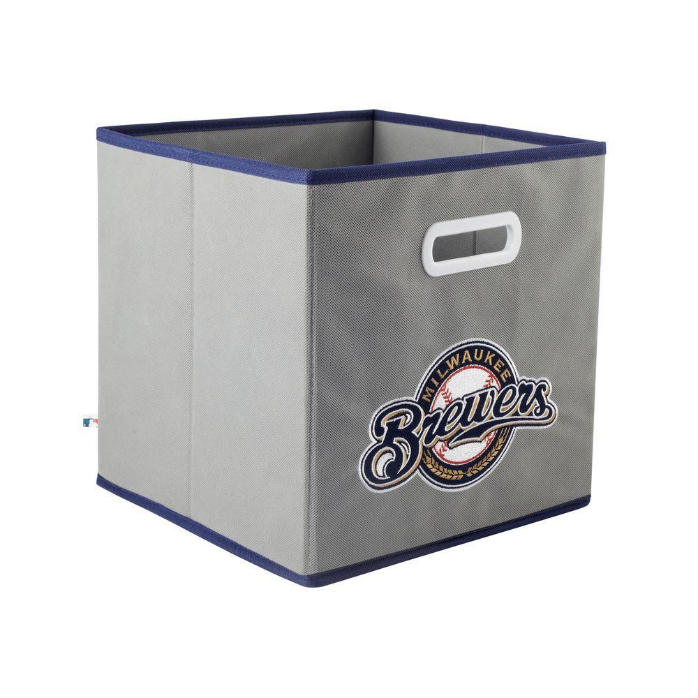 MyOwnersBox MLB STOREITS Milwaukee Brewers 10-1/2 in. x 10-1/2 in. x 11 in. Grey Fabric Storage Drawer