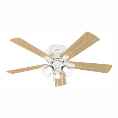 Crestfield 52 in. LED Indoor Low Profile Fresh White Ceiling Fan with 3-Light Kit