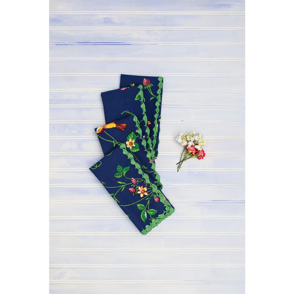 Strawberry Fields Blue 20'' x 20'' Napkins Set of 4