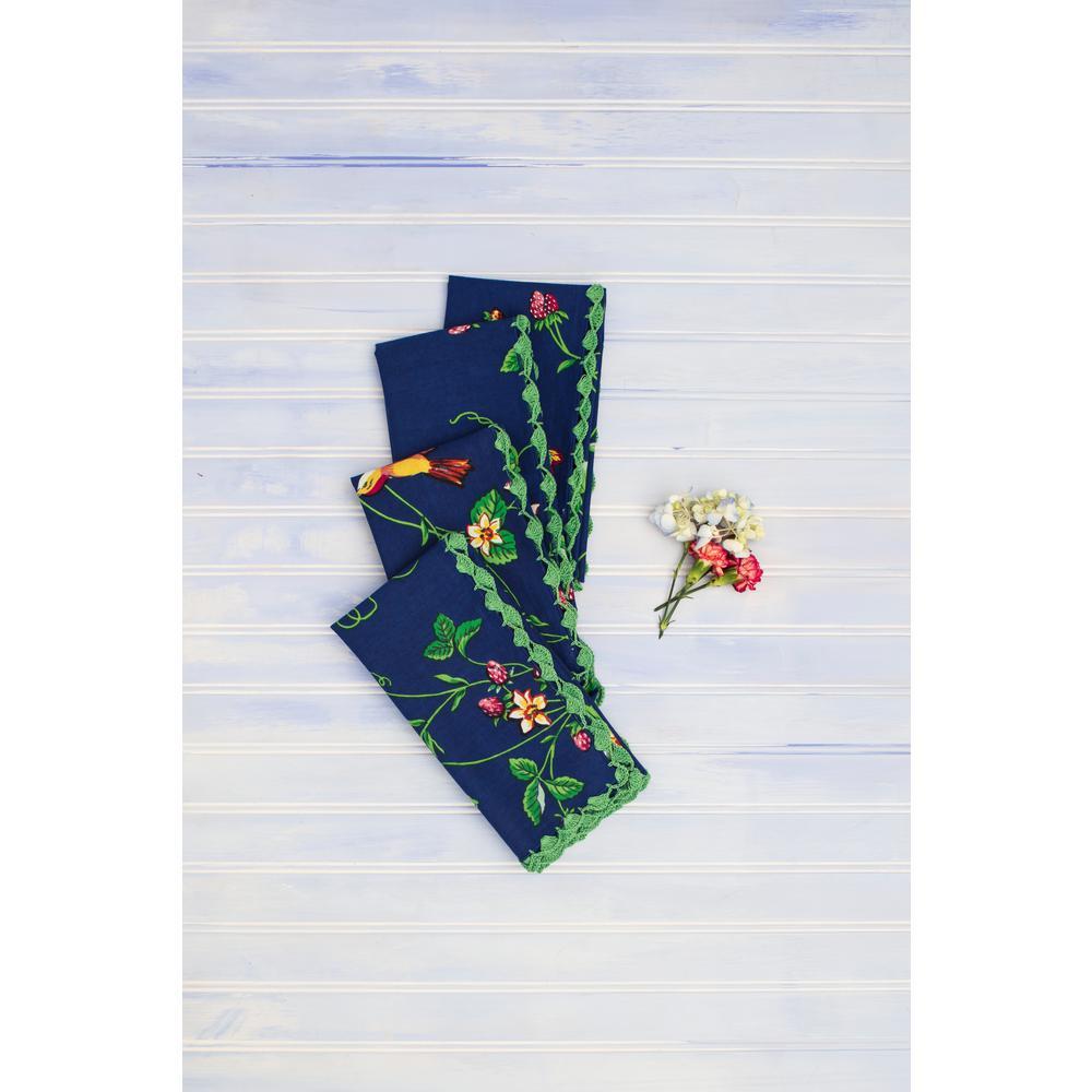 April Cornell Strawberry Fields Blue 20'' x 20'' Napkins Set of