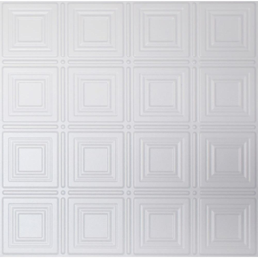 Global Specialty Products Dimensions 2 ft  x 2 ft  White Tin Ceiling Tile  for Refacing in T-Grid Systems