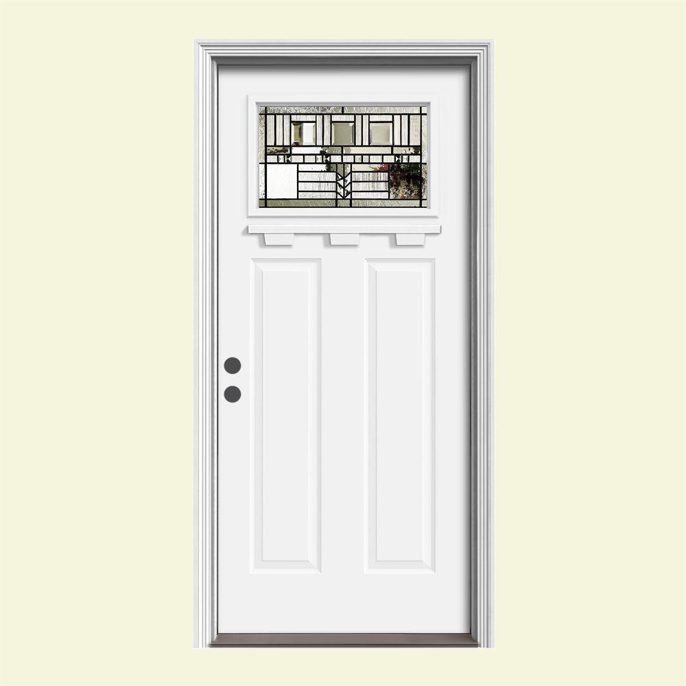 JELD-WEN 36 in. x 80 in. 1 Lite Craftsman Oak Park White Painted Steel Prehung Right-Hand Front Door w/Brickmould and Shelf