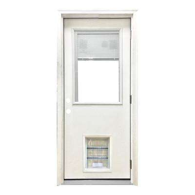 32 in. x 80 in. Classic Clear Mini-Blind LHOS White Primed Fiberglass Prehung Front Door with XL Pet Door