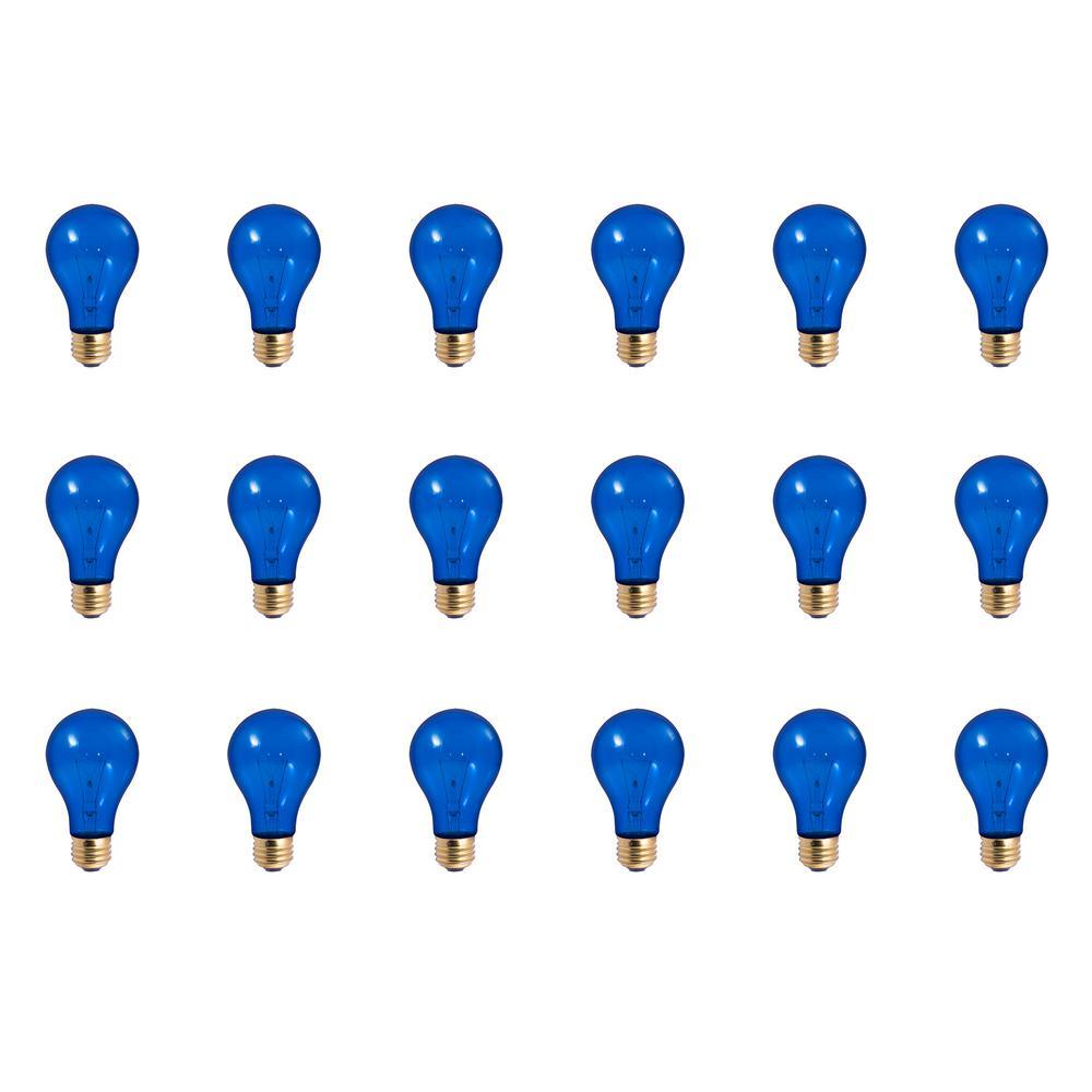 25-Watt A19 Transparent Blue Dimmable Incandescent Light Bulb (18-Pack)