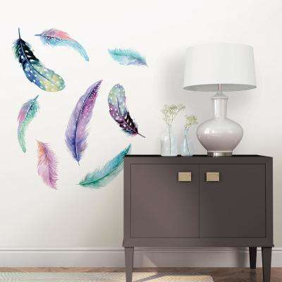 Multi-Color Celestial Feathers Wall Art Kit