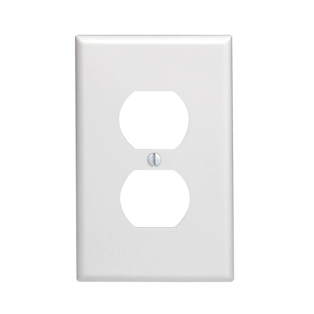 1-Gang Receptacle Duplex Wall Plate and Midsize in White