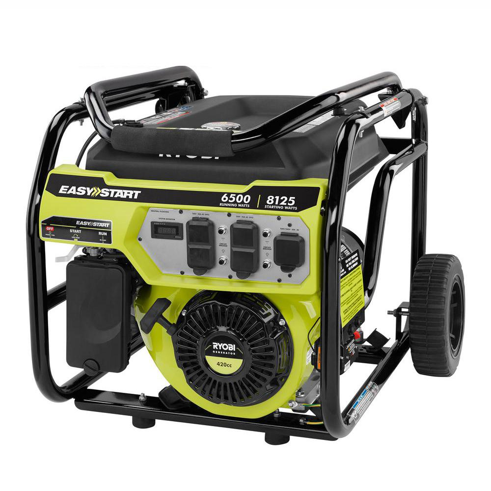 6,500-Watt Gasoline Powered Portable Generator with CO Shutdown Sensor