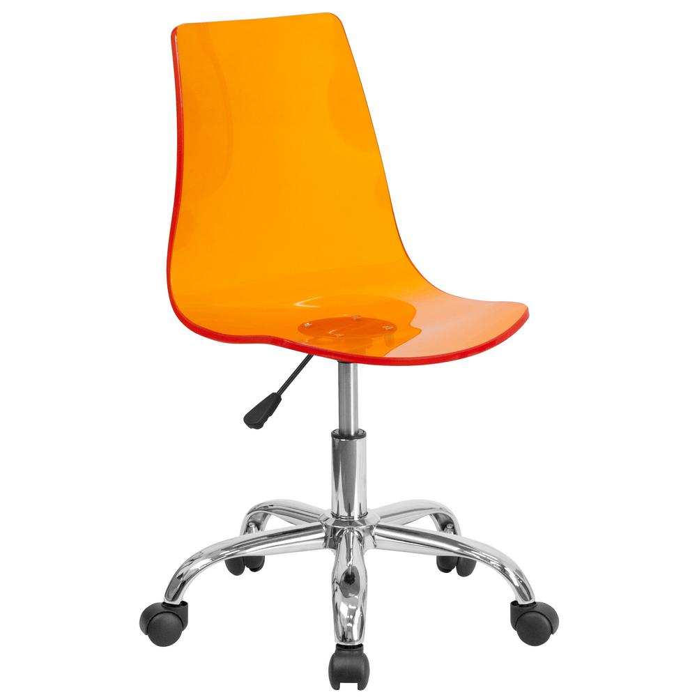 Contemporary Transparent Orange Acrylic Task Chair with Chrome Base