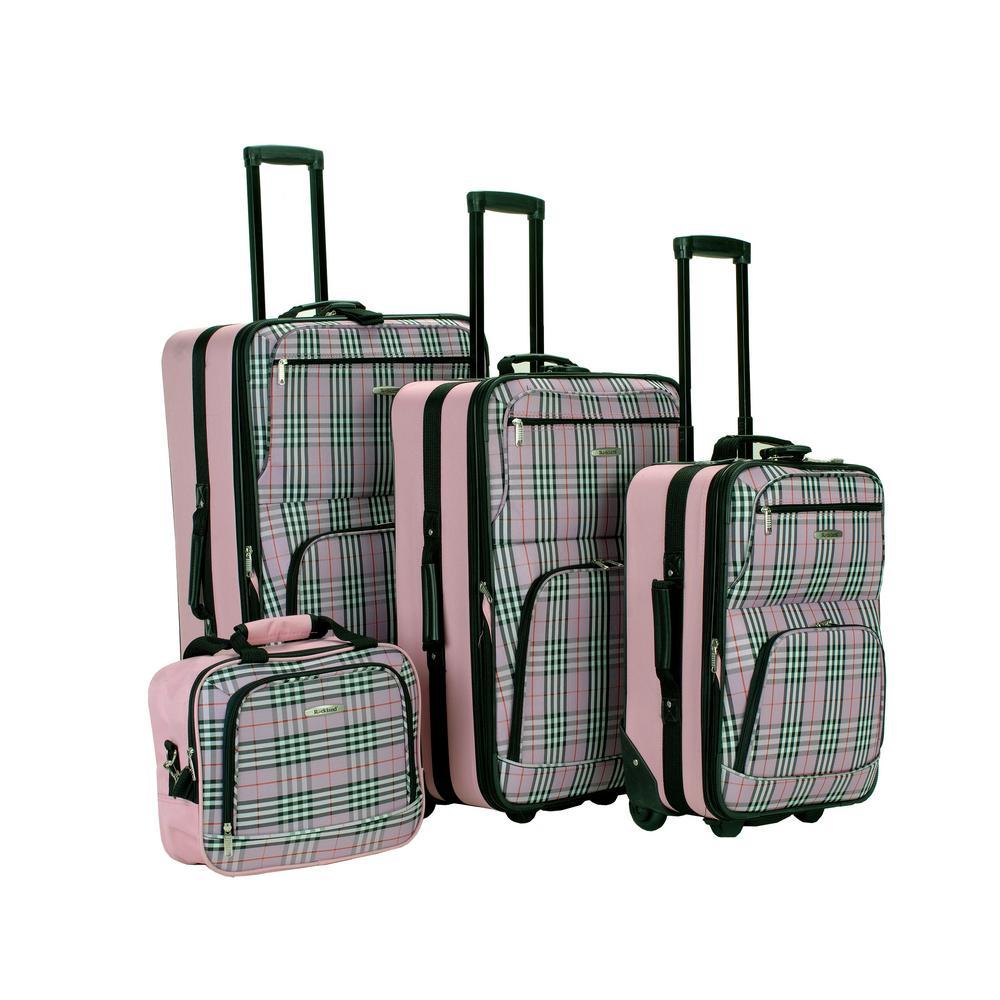 Rockland Beautiful Deluxe Expandable Luggage 4-Piece Softside Luggage Set, Pink Plaid