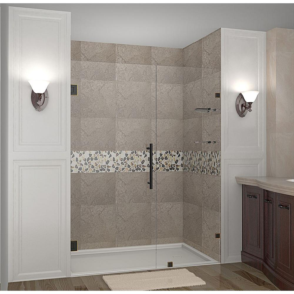 Aston Nautis GS 57 in. x 72 in. Completely Frameless Hinged Shower Door with Glass Shelves in Oil Rubbed Bronze