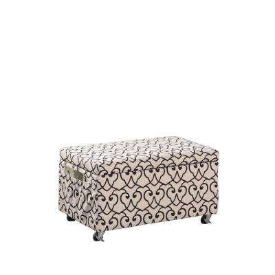 Beige Moroccan Heart Black Stencil Storage Bench