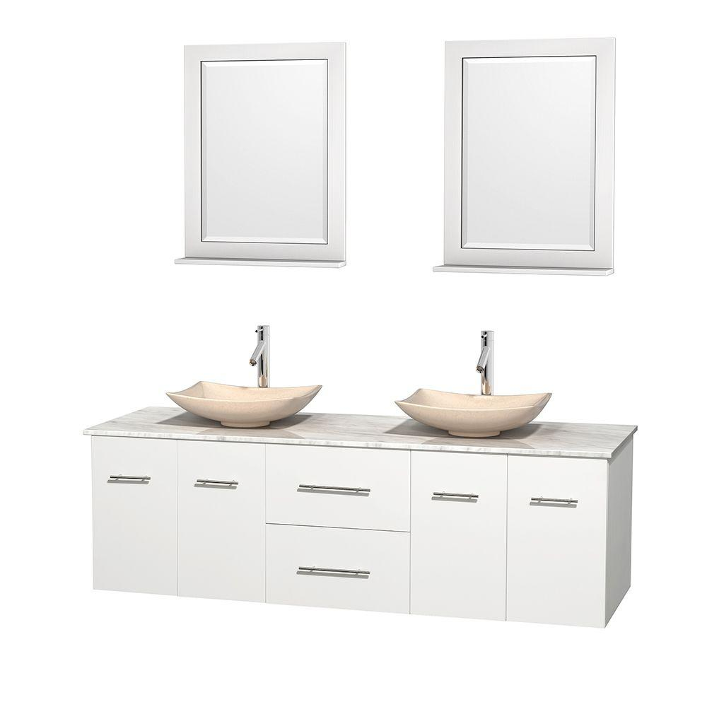 Wyndham Collection Centra 72 in. Double Vanity in White with Marble Vanity Top in Carrara White, Ivory Marble Sinks and 24 in. Mirrors
