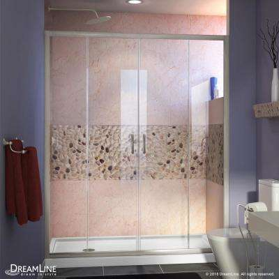 Visions 60 in. W x 30 in. D x 74-3/4 in. H Semi-Frameless Shower Door in Brushed Nickel with White Base Left Drain