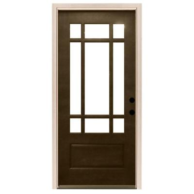 32 in. x 80 in. Craftsman 9 Lite Stained Mahogany Wood Prehung Front Door
