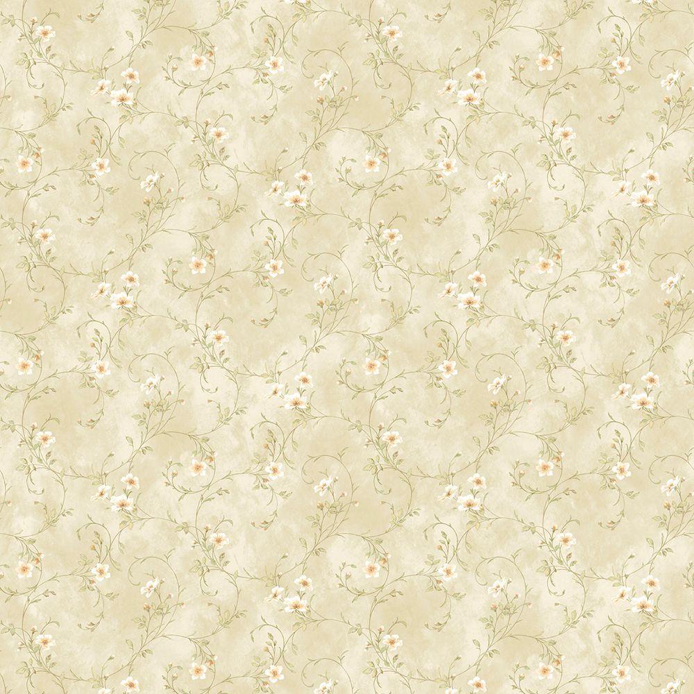 Chesapeake Capri Beige Floral Trail Wallpaper Sample