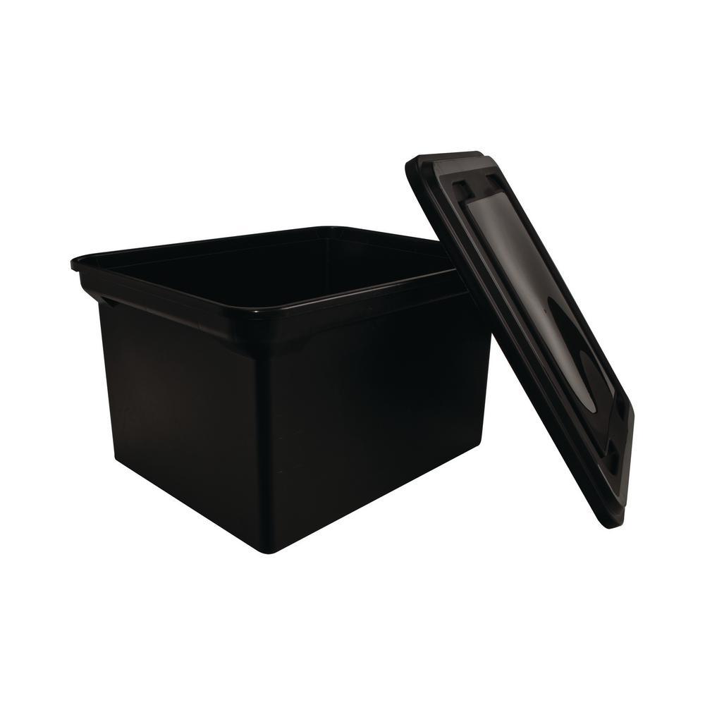 8 Gal. StorageTote with Lid in Black