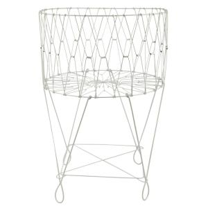 White Portable Single Lattice Mesh Bundle Mouth Laundry Fabric Basket With Wheel 13029101 The Home Depot