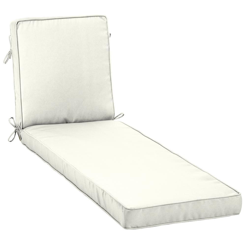 Home Decorators Collection 23 x 80 Sunbrella Canvas White Outdoor Chaise Lounge Cushion