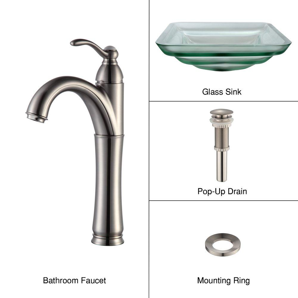 KRAUS Oceania Glass Bathroom Sink in Frosted with Single-Handle Low-Arc Riviera Faucet in Satin Nickel-DISCONTINUED